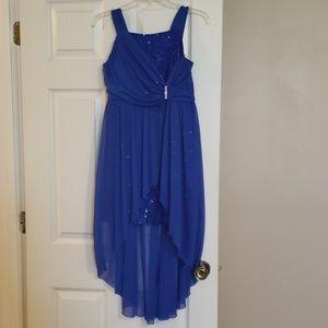 Amy Byer cobalt blue sequined lace & chiffon dress